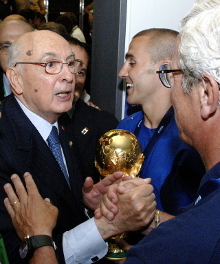 The president of Italy celebrating the vistory of the world cup