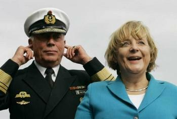 german chancellor inspecting the troops