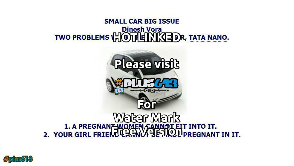 2 problems with the TATA NANO car